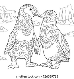 coloring page emperor penguins couple 260nw