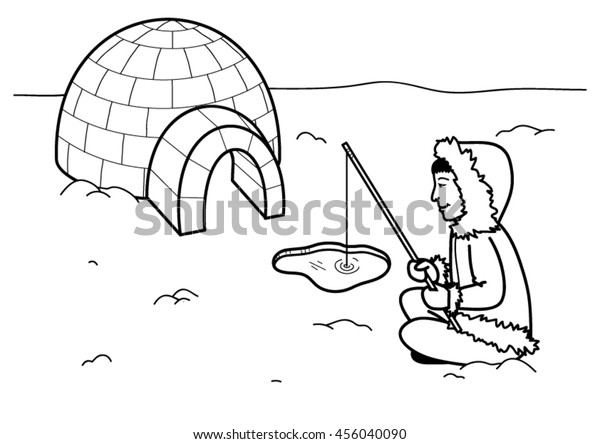 Image Vectorielle De Stock De Coloring Page Eskimo Igloo Fishing 456040090