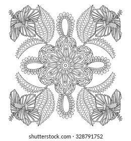 Coloring page with exotic hibiscus flower bunch, zentangle illustartion for adult anti stress Coloring books or tattoos with high details isolated on white background. Vector monochrome sketch.