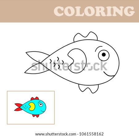 Coloring Page With Fish Book For Children Educational Game Drawing Kids