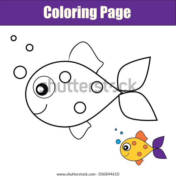 x9x5nj2ccebznm https www shutterstock com image vector coloring page fish color drawing activity 506844610