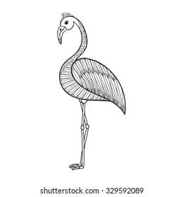coloring page flamingo bird zentangle 260nw
