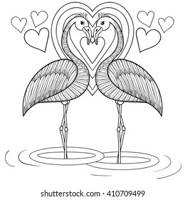 coloring page flamingo love zentangle 260nw