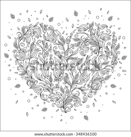Coloring Page Flower Heart St Valentines Stock Vector Royalty Free