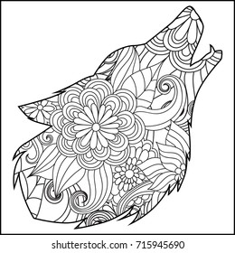 mandala wolf images stock photos vectors