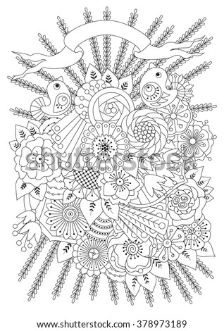 Coloring Page Flowers Birds Ribbon Coloring Stock Vector (Royalty ...
