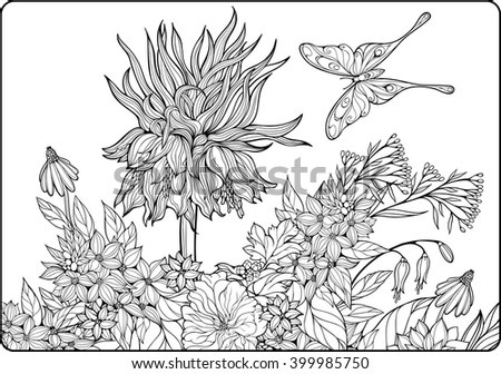 Coloring Page With Flowers And Butterfly