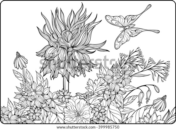 adult coloring pages flowers and butterflies coloring pages with ...   441x600
