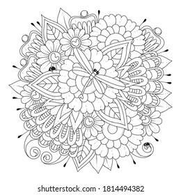 Página de coloreado con flores, libélula y pájaros. Fondo blanco-negro. Ilustración vectorial floral para colorear. Patrón de bordado, tatuaje, diseño.