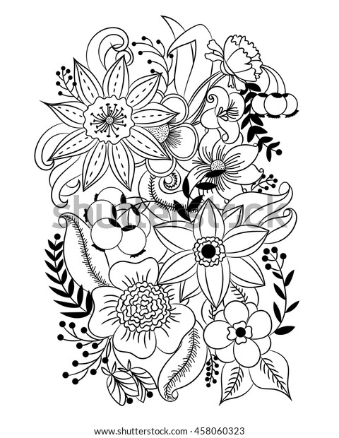 Coloring Page Flowers Leaves Vector Pattern Stock Vector Royalty Free 458060323
