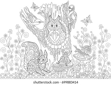 Coloring page of forest creatures: owl, cuckoo bird, woodpecker, squirrel, snail, stag beetle, butterflies. Freehand sketch drawing for adult antistress coloring book in zentangle style.