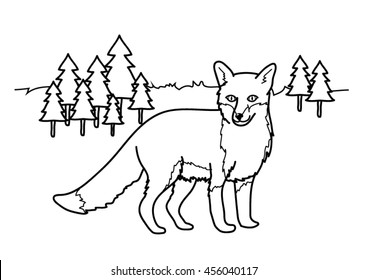Coloring page - Fox woods forest