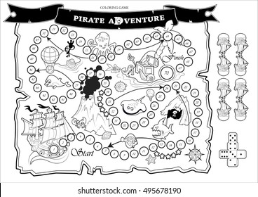 """Coloring page of fun children board game """"Pirate Adventure"""". Cut out ships and dice, coloring and play! Game  play similar to Snakes and Ladders"""
