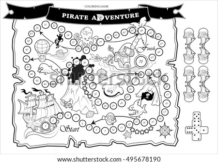 Coloring Page Fun Children Board Game Stock Vector (Royalty Free ...
