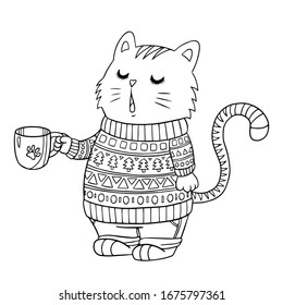 Coloring page. Funny cartoon cat in sweater holds a cup of coffee. Vector cute outline illustration for coloring books, print, cafe, posters.