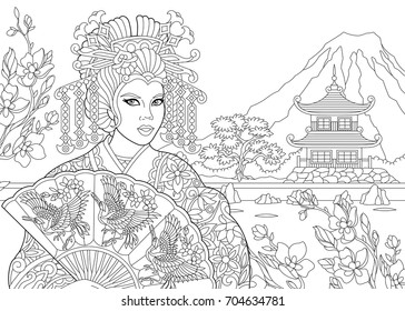 Pretty Geisha coloring page | People coloring pages, Coloring ... | 280x364