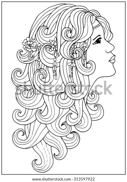Image Vectorielle De Stock De Coloring Page Girl Long Curly