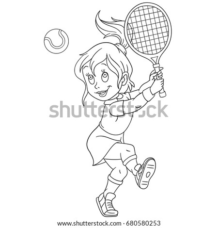 Coloring Page Girl Playing Tennis Colouring Stock Vector (Royalty ...