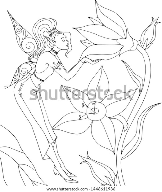 Coloring Page Girlsflower Fairy Stock Vector (Royalty Free) 1446611936
