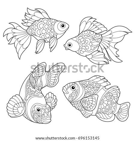 Coloring Page Goldfish Clown Fish Freehand Stock Vektorgrafik
