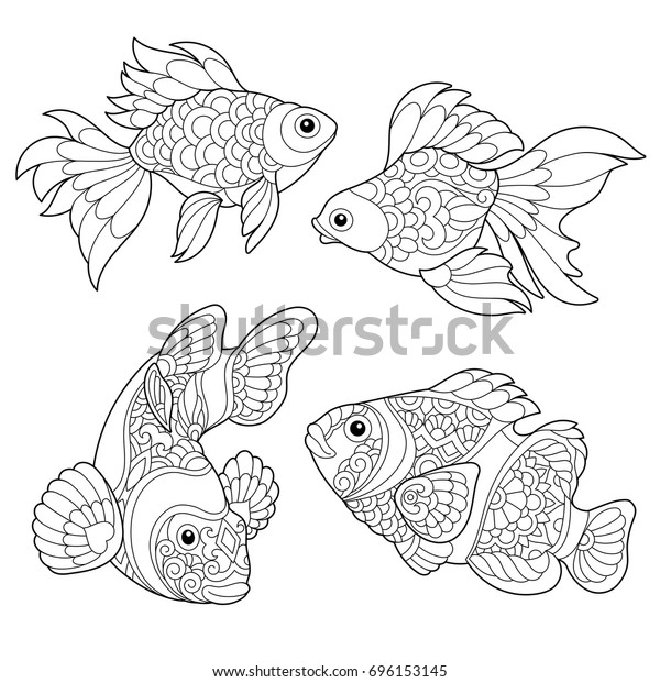 Coloring Page Goldfish Clown Fish Freehand Stock ...