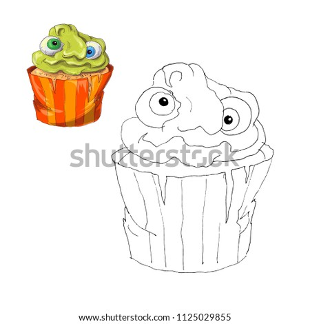 Coloring Page Halloween Cupcake Color By Stock Vector Royalty Free