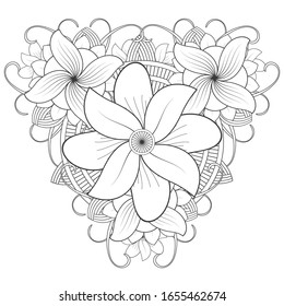 Coloring Page. Hand Drawn Flowers for Adult Anti Stress, Fun and Relaxation in Monochrome Isolated on White Background.-vector