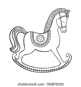 Coloring page. Hand drawn vector rocking horse. Design for kid coloring book.