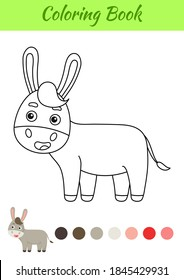 Coloring page happy donkey. Coloring book for kids. Educational activity for preschool years kids and toddlers with cute animal. Flat cartoon colorful vector illustration.