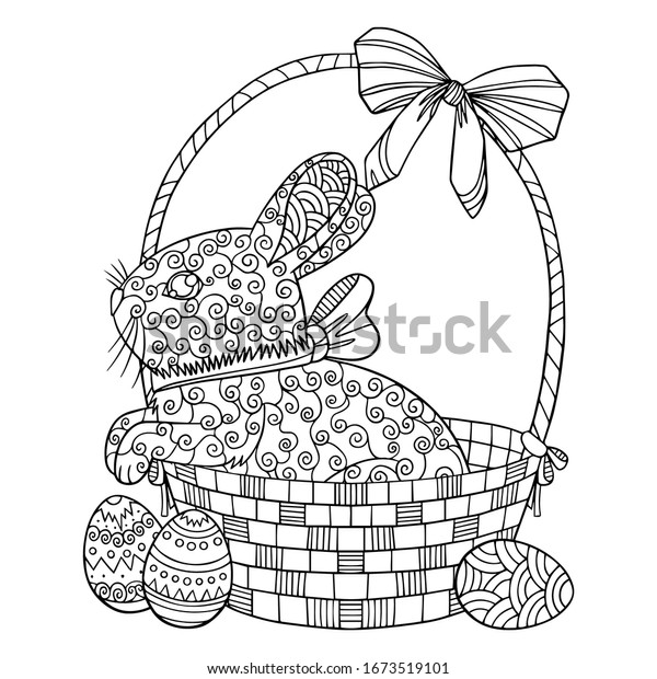 Coloring Page Happy Easter Little Cute Stock Vector (Royalty Free)  1673519101
