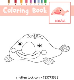Coloring page of Happy pink Blobfish animals for preschool kids activity educational worksheet. Vector Illustration.