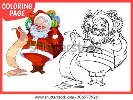 coloring page happy santa claus with a bag of gifts vector illustration on white