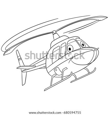 Coloring Page Of Helicopter Cartoon Flying Transport Colouring Book For Kids And Children