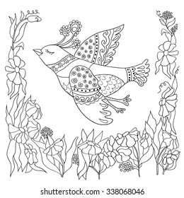 Coloring page with illustration of doodle bird.