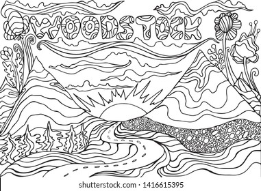 Coloring page with the inscription Woodstock, and landscape with mountains, the sun and the road going into the sunset. Vector hand drawn illustrations. Doodle cartoon style. Fantasy psychedelic art.