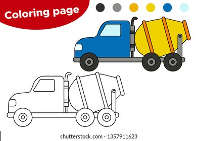 Coloring page for kids. Cartoon cement mixing truck. Preschool educational game. Vector concrete mixer car.
