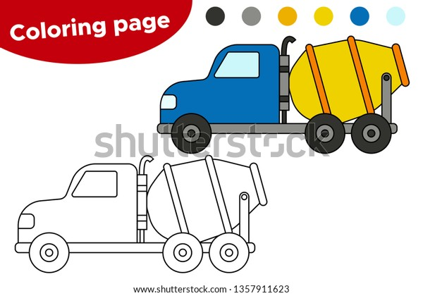 Coloring Page Kids Cartoon Cement Mixing Stock Vector ...