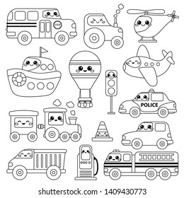 Coloring page for kids. Cute kawaii cartoon transports set. Outline collection. Vector illustration.