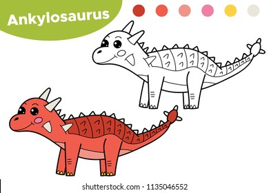 Coloring page for kids dinosaur Ankylosaurus. Hand drawn cartoon character. Vector illustration.