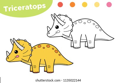 Coloring page for kids. Funny cartoon dinosaur Triceratops. Hand drawn character. Educational game. Vector illustration.