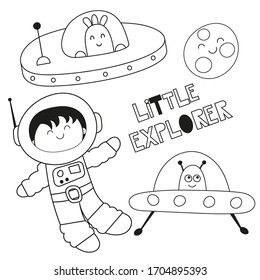 Coloring page for kids. Outer space - UFO, spaceman, moon. Vector illustration. Funny coloring book for kids.