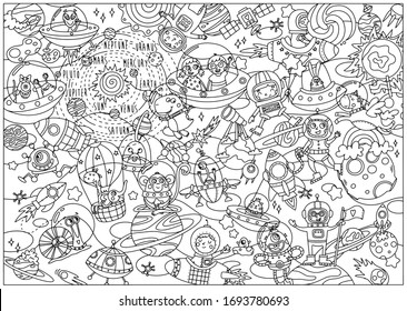 Coloring page for kids space galactic