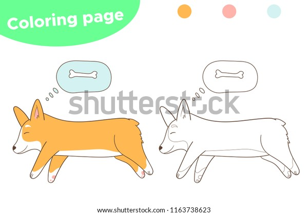 Coloring Page Cardigan Welsh Corgi Puppy Stock Vector (Royalty Free)  691811329 | 420x600