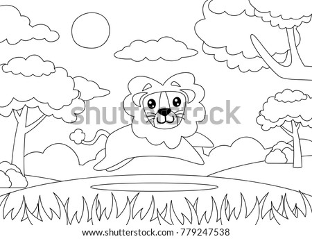 Coloring Page Lion Running Happily Cartoon Stock Vector Royalty