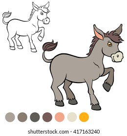 Coloring page. Little cute donkey stands and smiles.