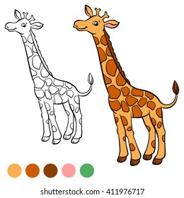 coloring page little cute giraffe 260nw