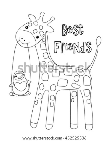 Coloring Page Little Cute Giraffe His Stock Vector Royalty Free