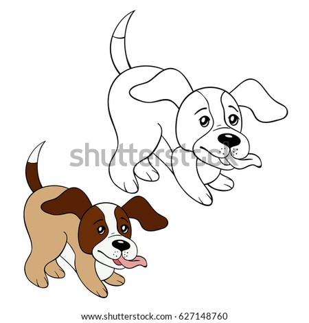 Coloring Page Little Dog Cartoon Style Illustration Stock Vector