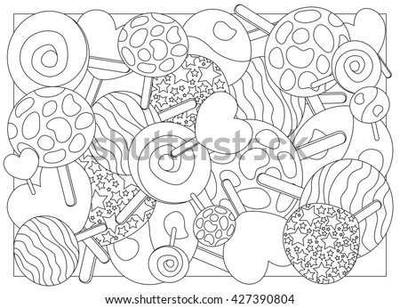 Coloring Page Lollipops Vector Illustration Lollipop Stock Vector