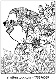 Coloring page with lovely sloth in forest. Coloring book for adult and older children. Vector illustration. Outline drawing.